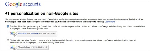 Google +1 Account Settings