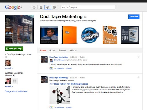 Google+ Brand Page