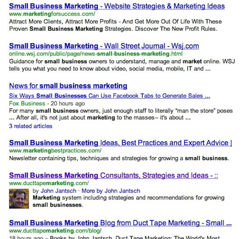 Page one results for search term - small business marketing