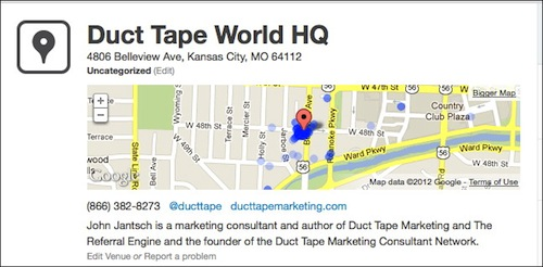 duct tape marketing on Foursquare
