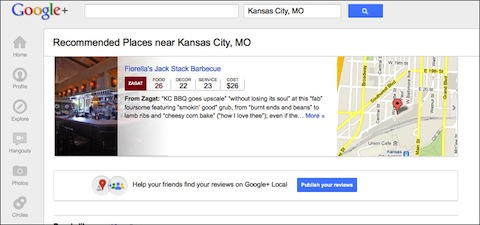 Google+ Local offering