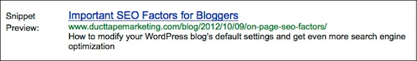 SEO factors in blogging