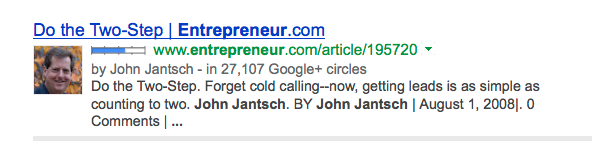 Google Authorship on Entrepreneur