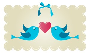 Two twitter birds fall in love holding a red heart background. Vector file available.
