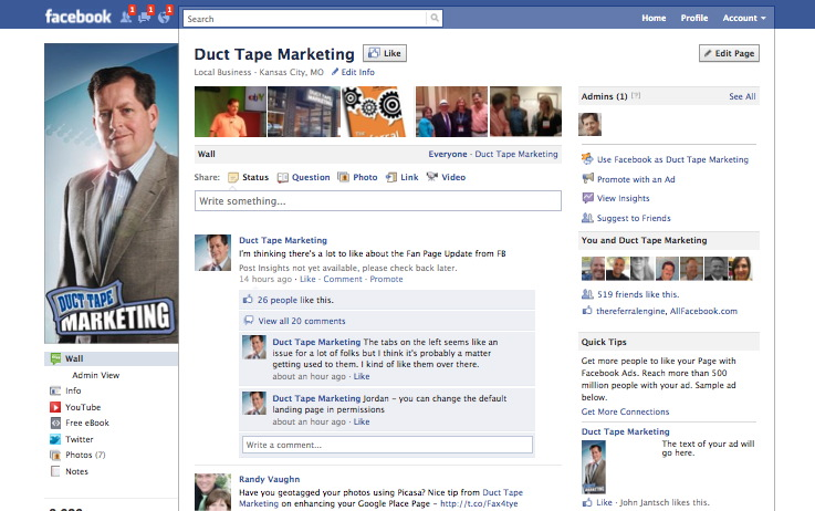Facebook pages upgrade