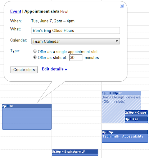 Google Appointment slots