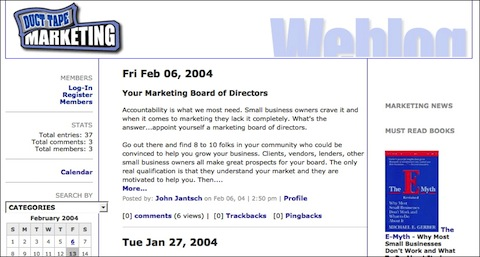 duct tape marketing blog circa 2004