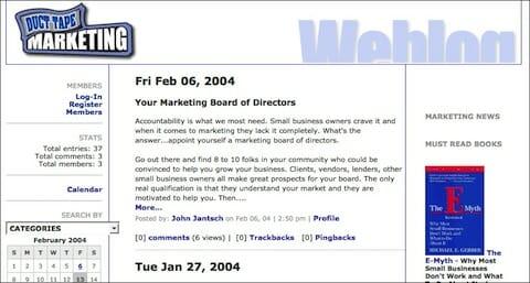 duct tape marketing blog circa 2004