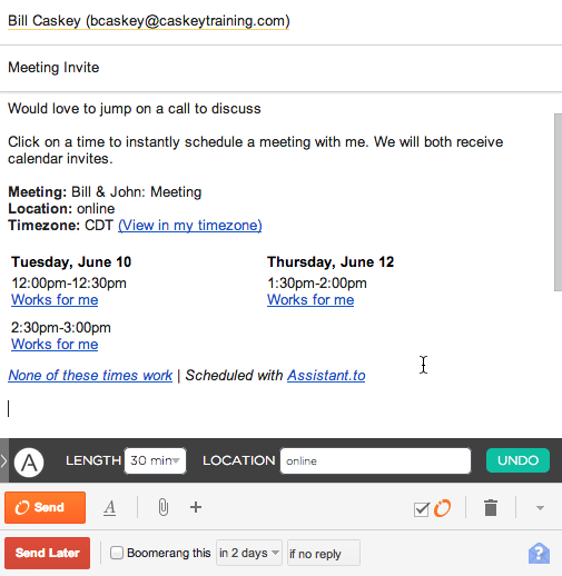 Gmail screenshot with Assistant.to meeting scheduling
