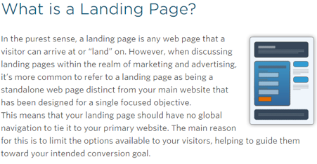 what makes a landing page